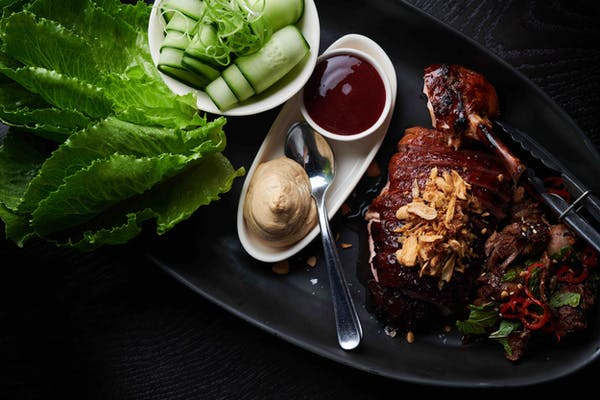 roast duck with plum sauce and hoisin sour cream from culprit