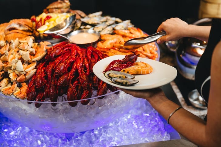 Help yourself to Eight's fresh seafood bar.