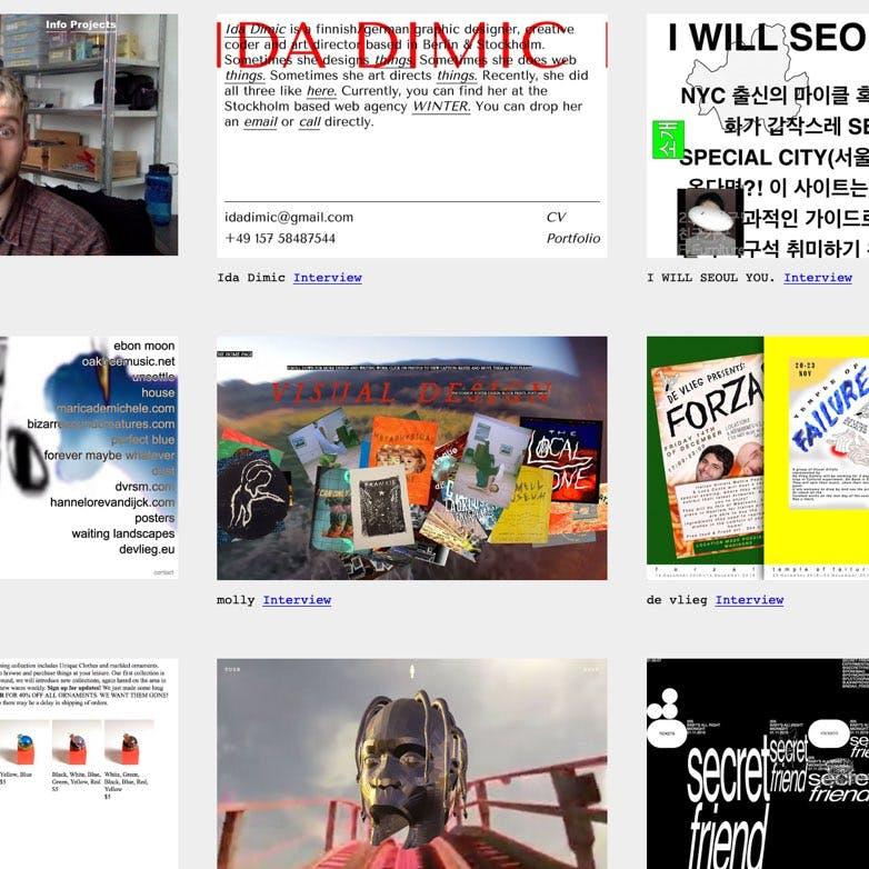 A collage of brutalist websites, courtesy www.brutalistwebsites.com
