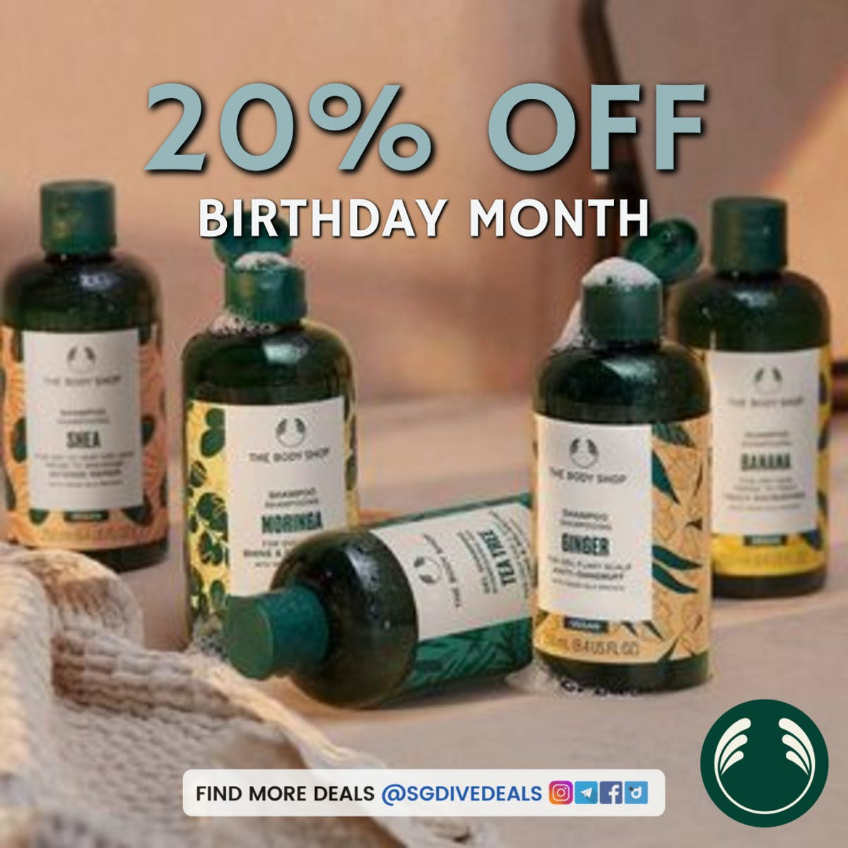 20% off body shop skincare products