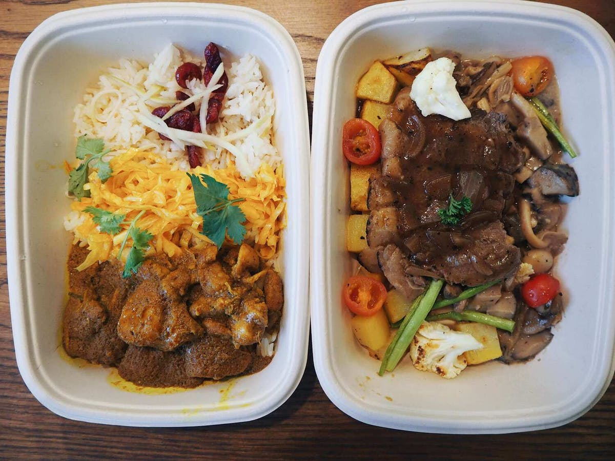 Grain's Creamy chicken rendang and Flame Torched Sanchoku Beef Steak