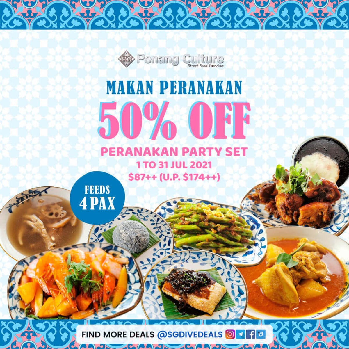 50% off Penang Culture's peranakan party set for friends and families