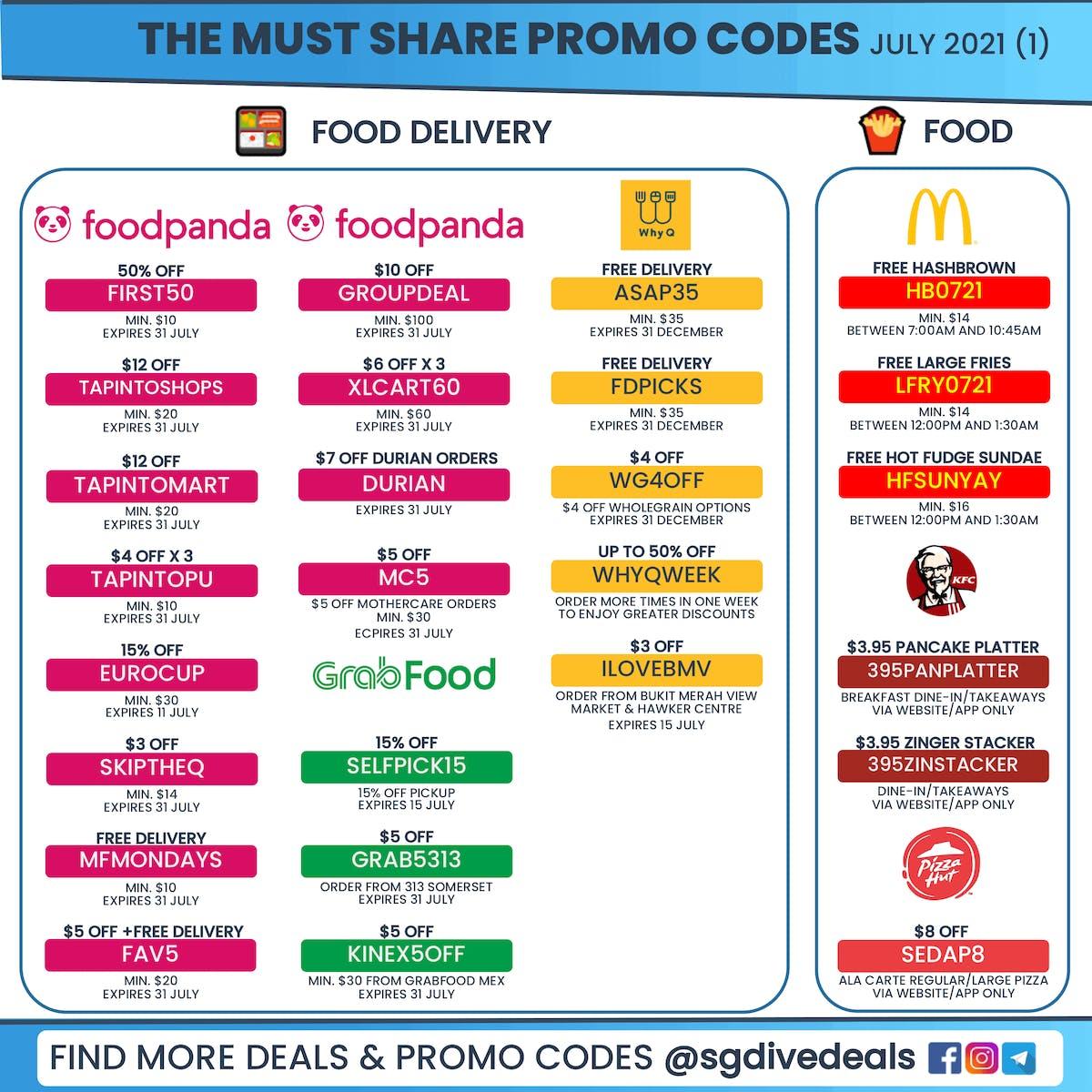 July promo codes, foodpanda, grabfood, WhyQ, mcdonald's, kfc and pizza hut