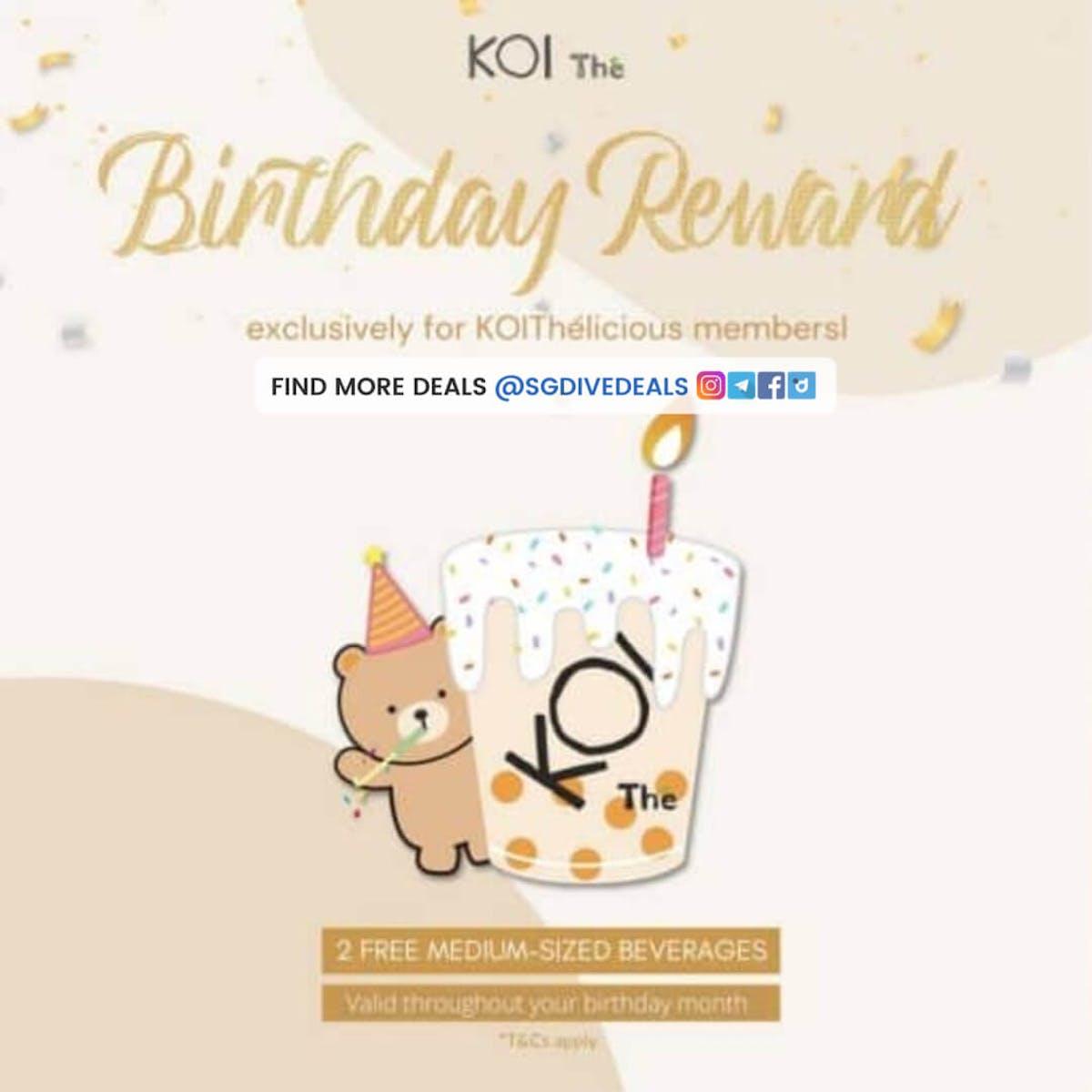 KOI Birthday Rewards Free Bubble Tea