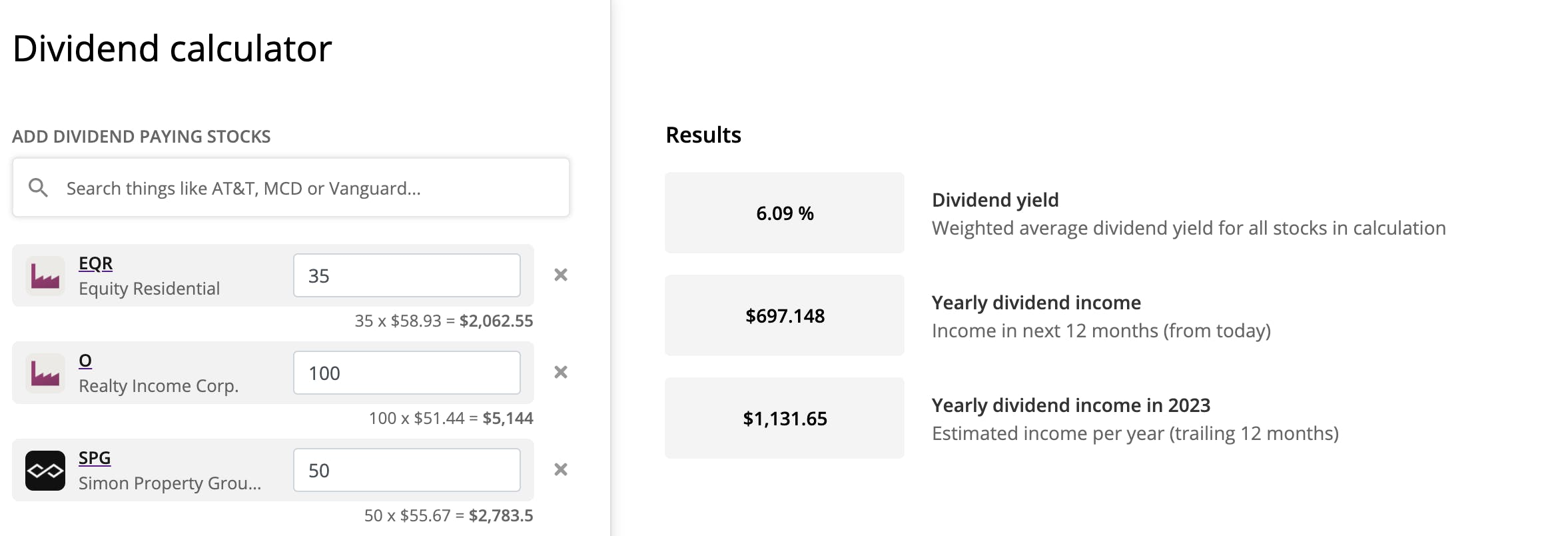 REITs in our dividend calculator