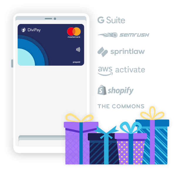 DiviPay rewards - offers on GSuite, Shopify, Sprintlaw, AWS Activate and more
