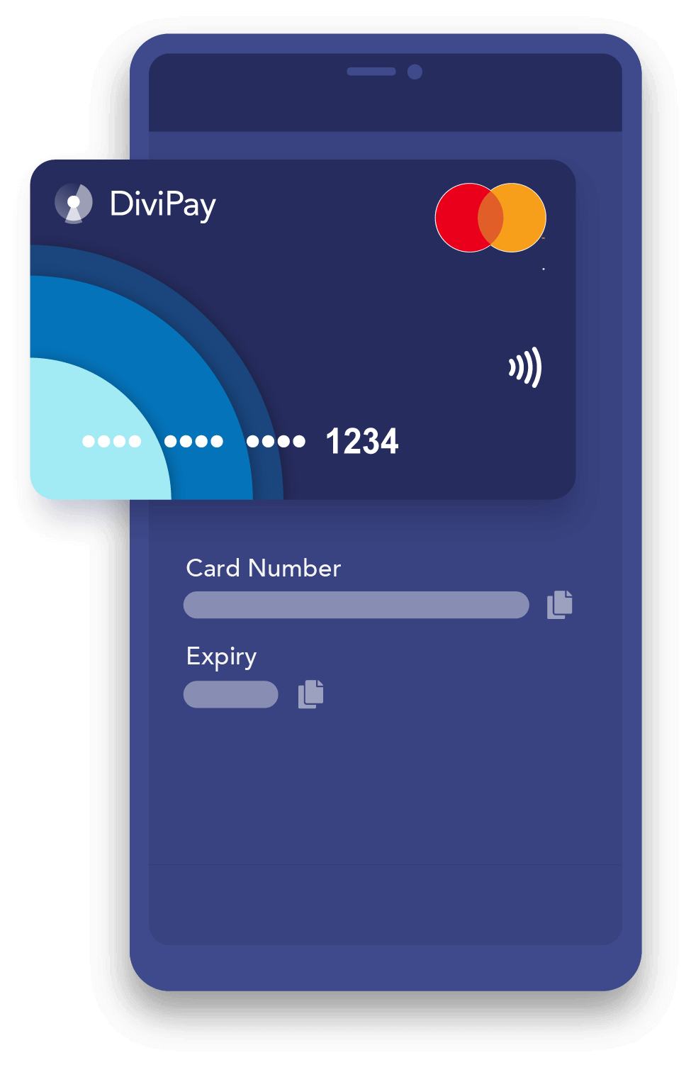 View card numbers on the DiviPay app