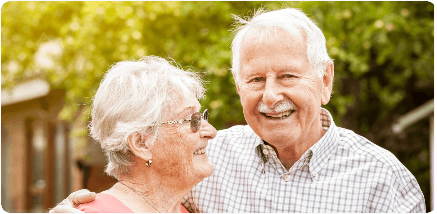 Smiling couple uniting agewell clientele