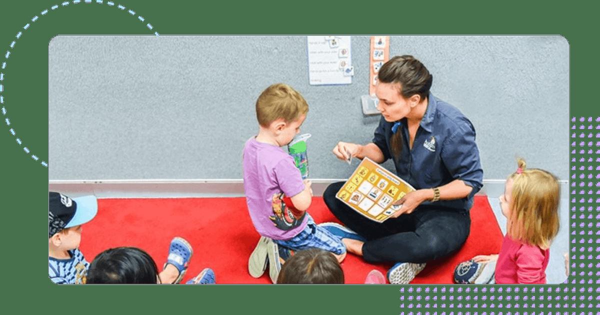 Autism Australia case worker helping children