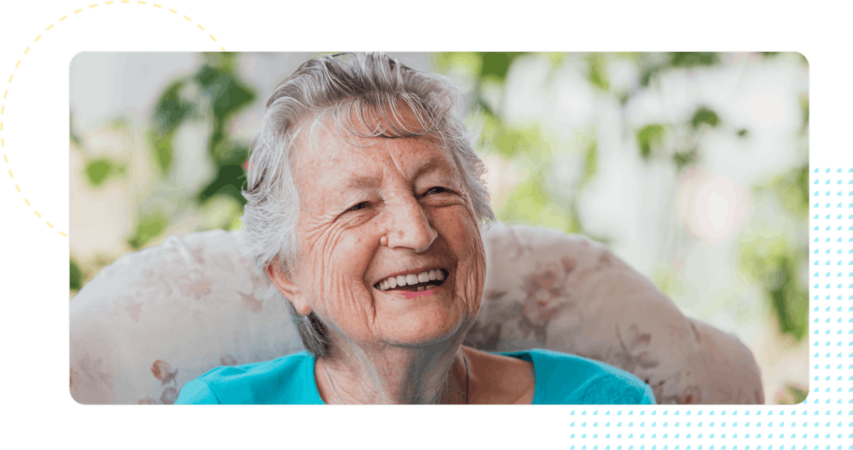 Smiling woman uniting agewell client