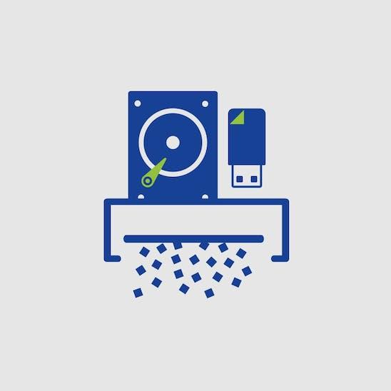 Piktogramm: Eine Festplatte und ein USB-Stick werden in einem Schredder vernichtet.
