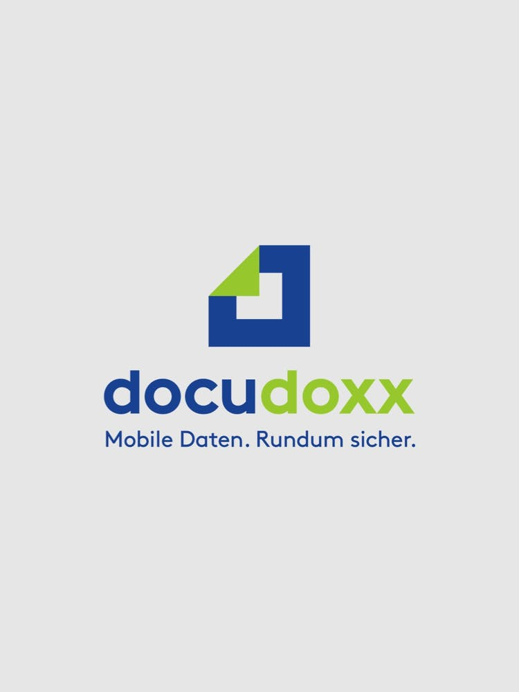 Das docudoxx-Logo auf grauem Hintergrund