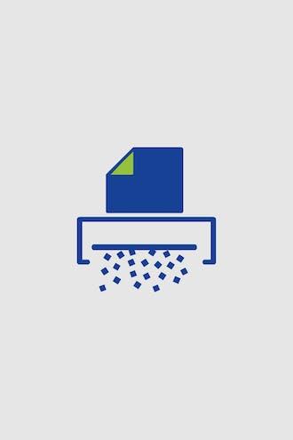 Piktogramm: Eine Seite eines Dokuments wird im Schredder vernichtet.