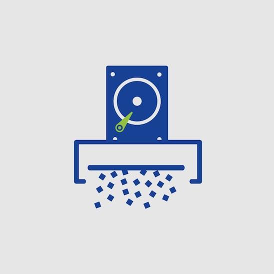 Piktogramm: Eine Festplatte wird in einem Schredder vernichtet.