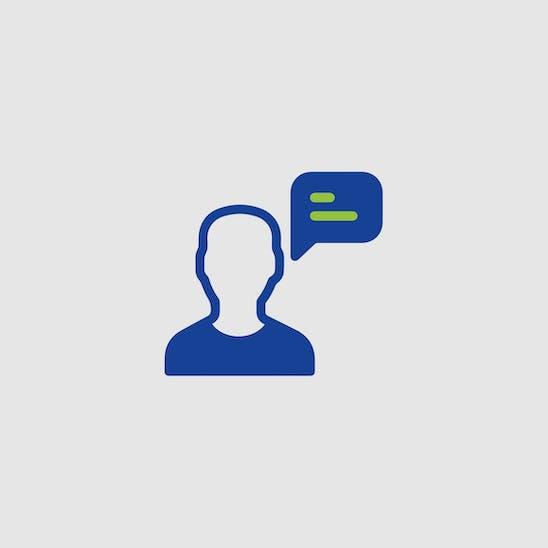 Piktogramm: Person mit Sprechblase berät.