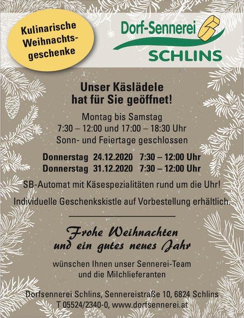 Inserat 2020 Dorfsennerei Schlins