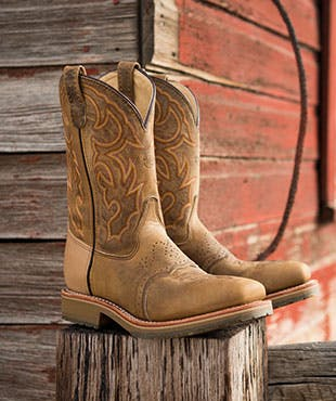 """Men/'s Double H Brown Leather 8/"""" Composite Toe Lacer Work Boots Wide Square Toe"""
