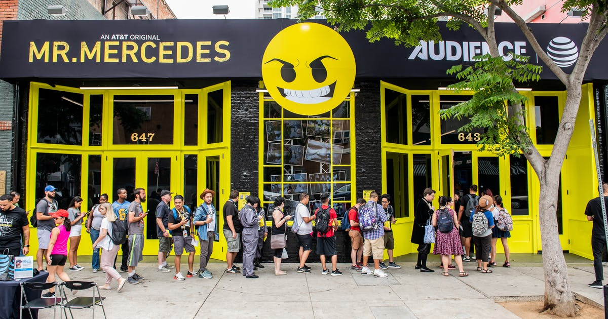 Fans line up outside the Mr. Mercedes experience at San Diego Comic-Con.