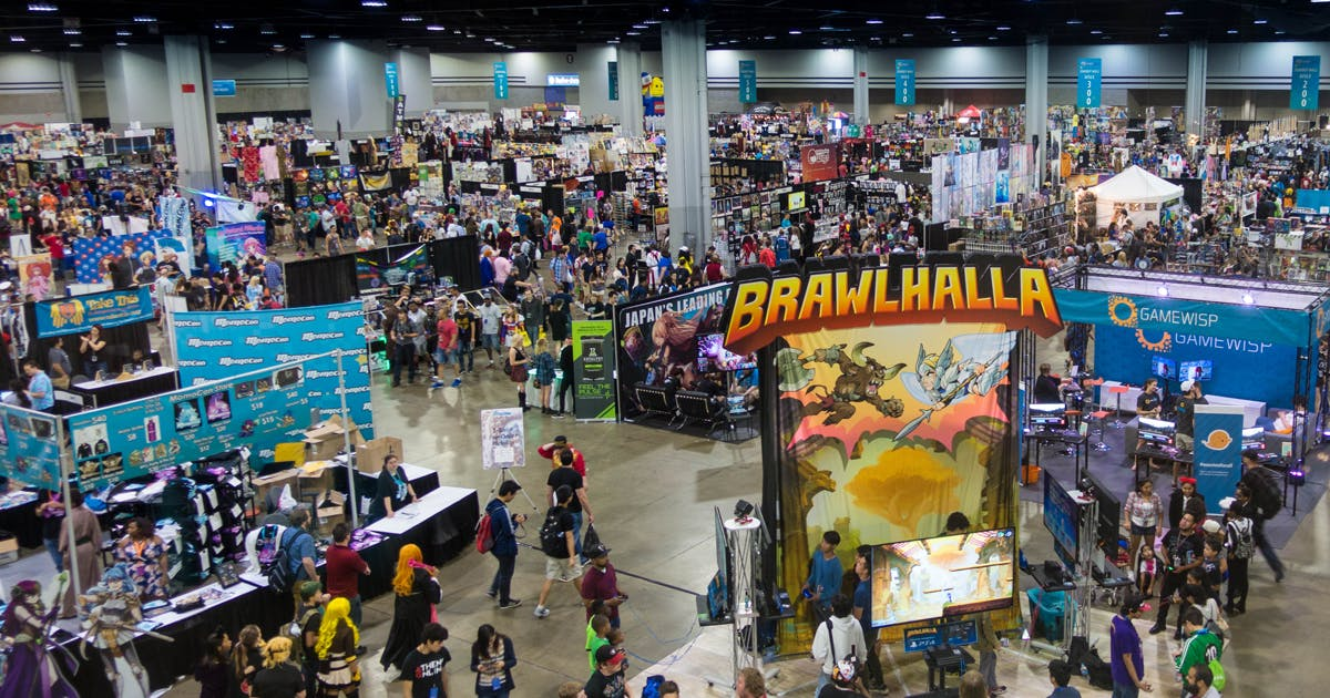 An overhead view of the booths on the show floor of Momocon.