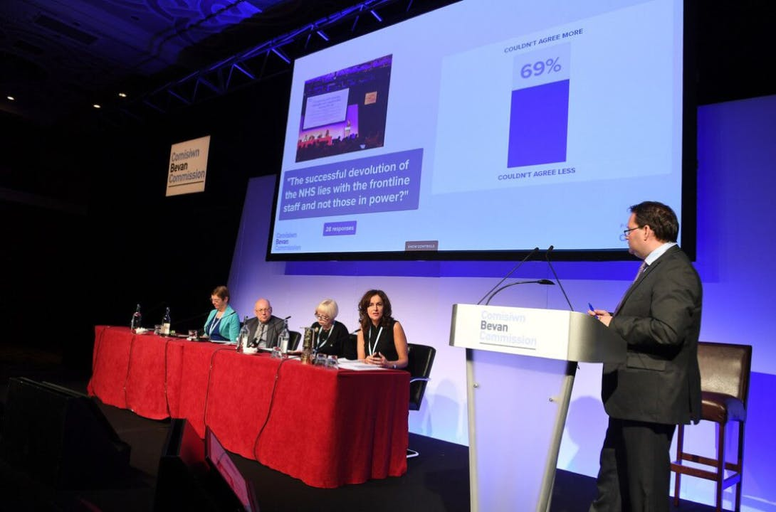 Presenter screen in use at a healthcare conference