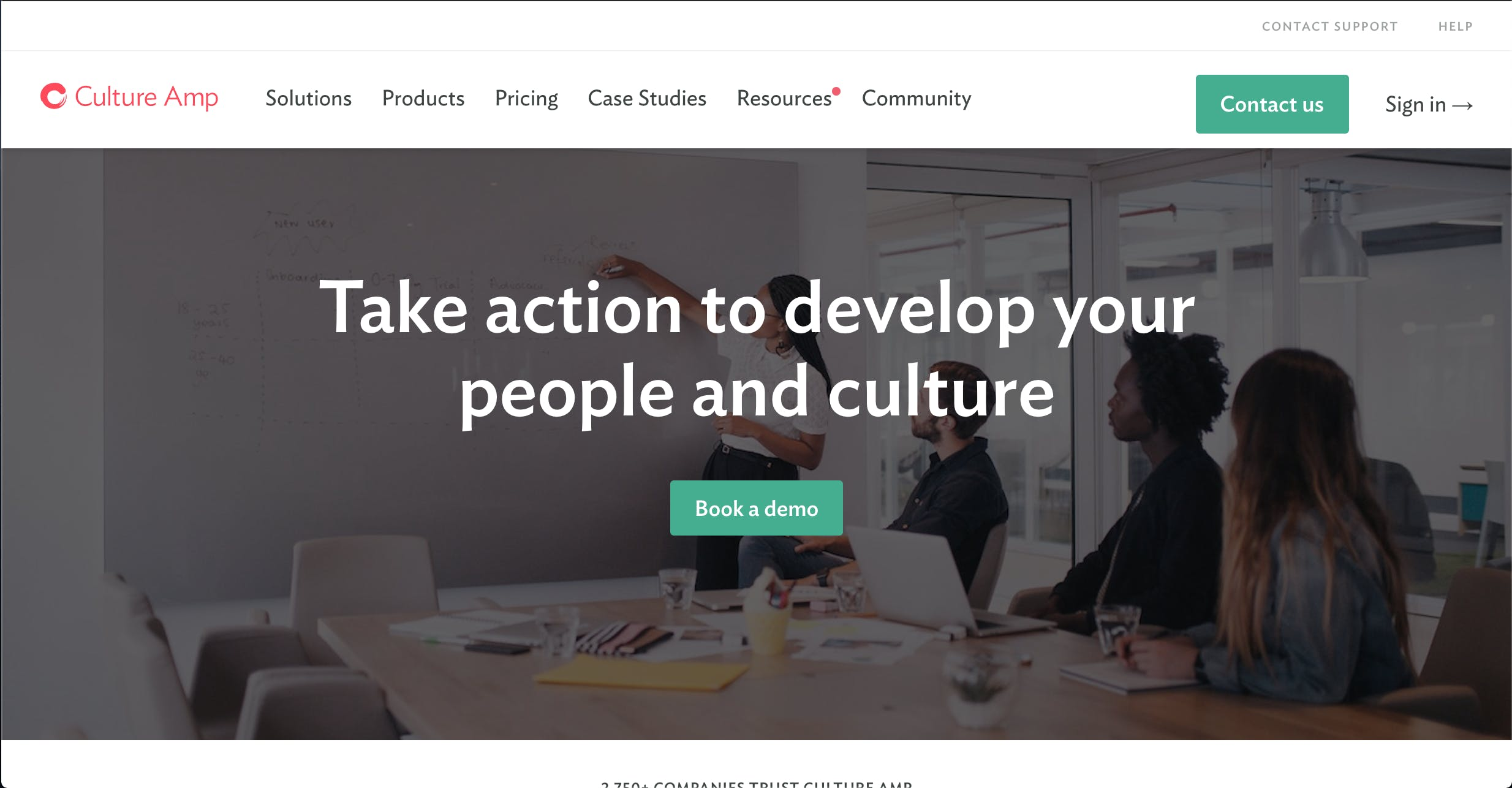 Culture Amp's homepage for employee engagement surveys