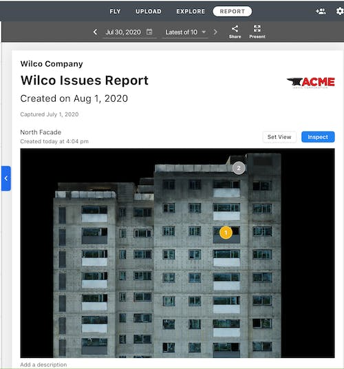 Virtually inspect building facades and automatically generate facade inspection reports.