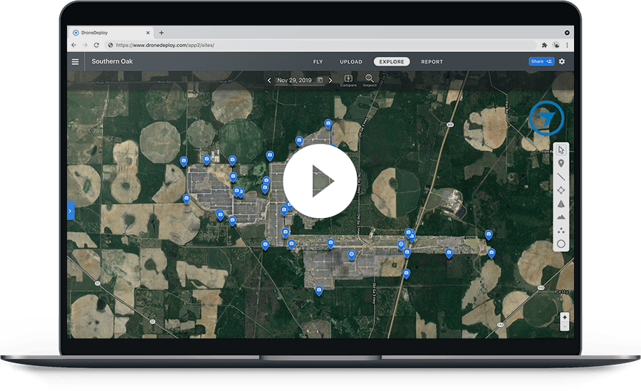 Through aerial maps and 3D models, DroneDeploy automates analysis and reporting to speed up the site survey process, standardize the deliverables, reduce direct risk to workers conducting inspections, and improve collaboration with stakeholders.