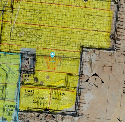 Brasfield and Gorrie overlaid a design plan on top of a DroneDeploy map to validate work