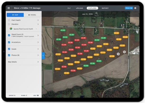 DroneDeploy's Stand Assessment is a completely automated flight, capture, and analysis workflow for stand counts that works entirely offline.