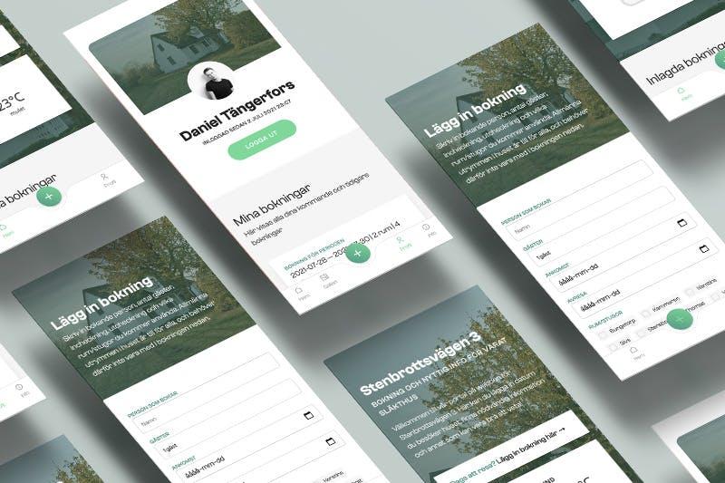 Isometiric App screens of the Stenbrottsvägen app