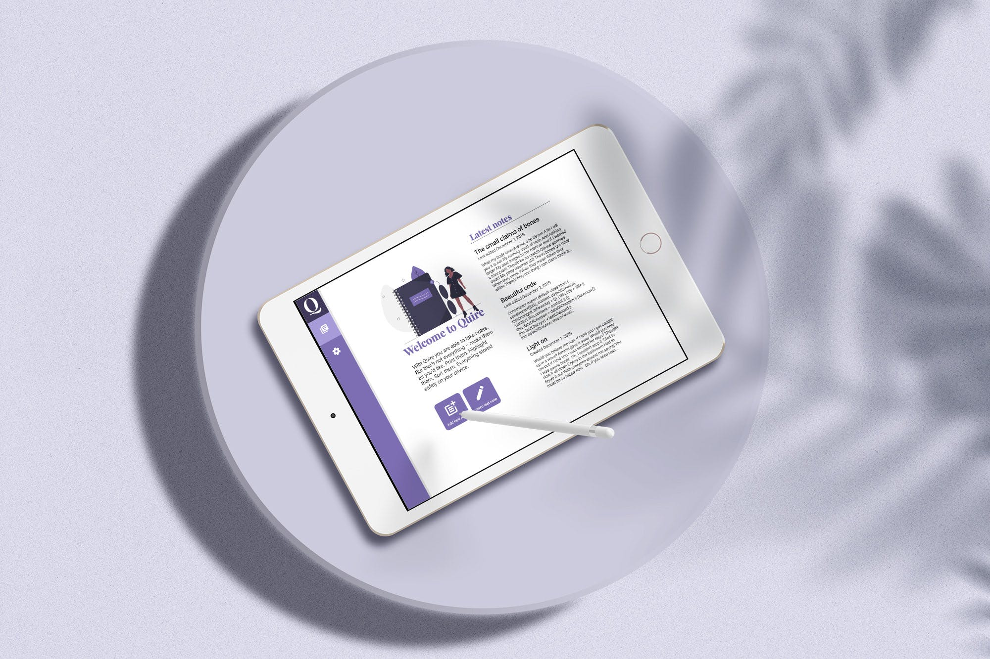 Close up of an white iPad showing the main view of the Quire App
