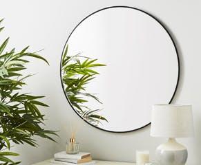 Large Black Frame Circular Mirror