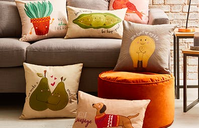 Chin up, colourful cushions will perk the place up
