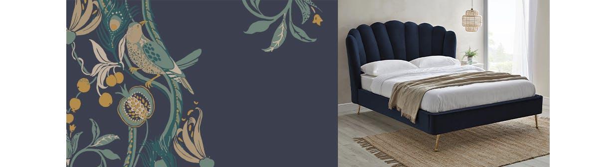navy velvet scalloped bedframe with gold legs in a neutral room