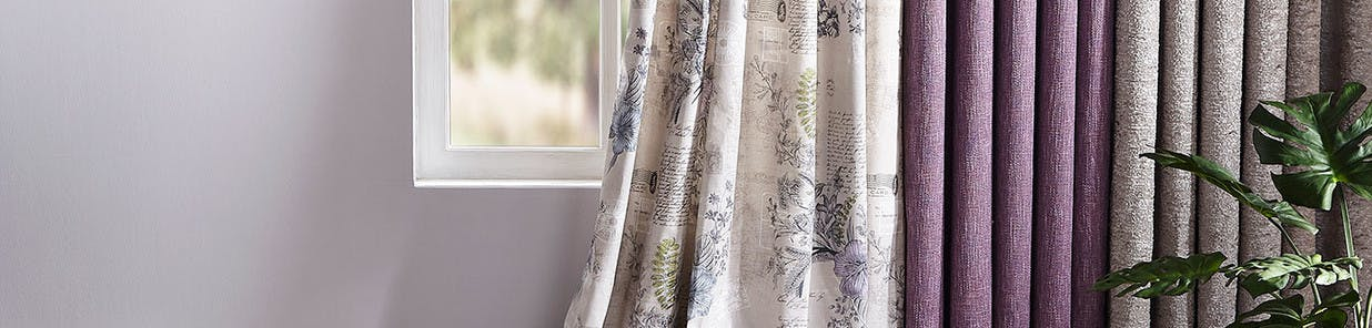 Each of our curtain collections focuses on one design or pattern, and  showcases it in a range of colours and matching accessories, making it  easy to create a complete look. Choose from pencil pleat or eyelet headers and different linings in 19 styles of curtain.