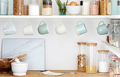 Sever ties to single use plastics and switch to simple jars for a more eco alternative that also looks cleaner and calmer.