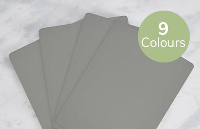 Grey wooden placemats. Available in 9 colours