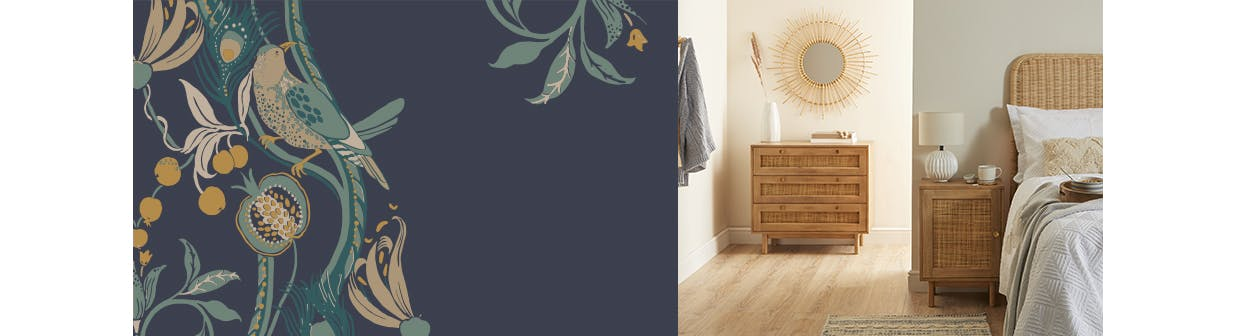 Bedroom with a rattan bedside table & chest of drawers