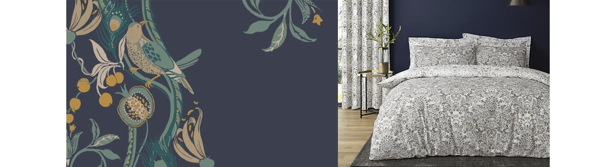 Grey and white damask patterned bedding in navy bedroom