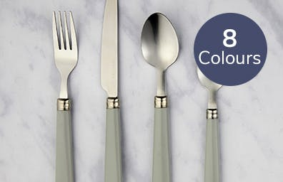 Grey handled cutlery set laid out on grey surface. Available in 8 colours