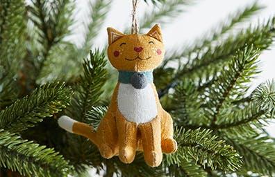 Festive Folk Cat Tree Decoration