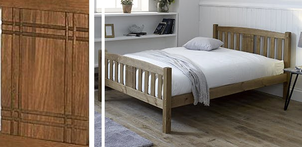 light wooden slatted bed in a white room