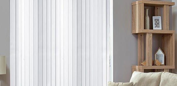 Fully adjustable for complete control over the light in your room, the  vertical strips of stiffened fabric can be angled to allow the desired  amount of light to enter the room. Vertical blinds can also be fully  pulled back to allow light to flood the room.