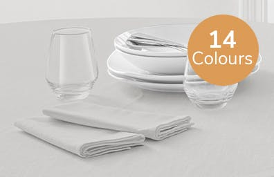 Grey napkin set laid out on table. Available in 13 colours