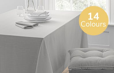 dining room with grey tablecloth laid out on table. Available in 14 colours