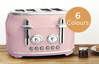 pink toaster sat on counter