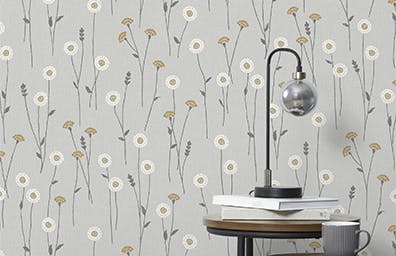 grey wallpaper with yellow floral design