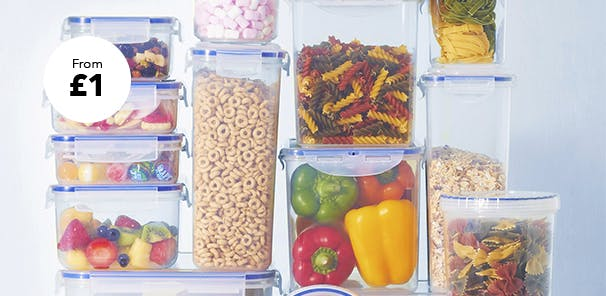 A variety of food containers and tupperware