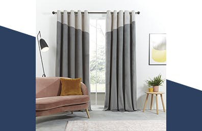 Velour Top Border Grey Curtains