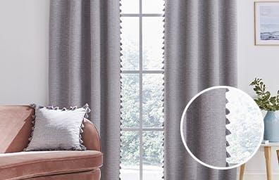 Tassel Grey Curtains